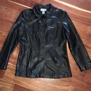 Alfani gorgeous black leather jacket size m